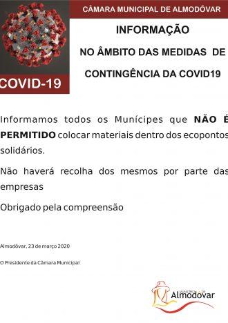 Ecopontos Solidários – proibição de depósito (Covid-19)