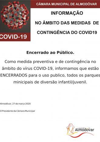 Encerramento dos parques infantis municipais (Covid-19)