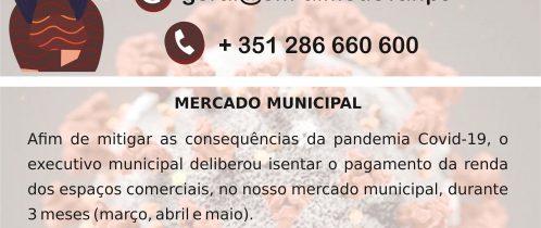 Isenção pagamento espaços comerciais no Mercado Municipal (Covid-19)
