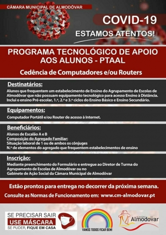 PTAAL – Programa Tecnológico de Apoio aos Alunos (Covid-19)