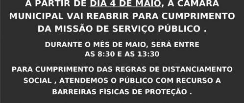 Reabertura Serviços Câmara Municipal (Covid-19)