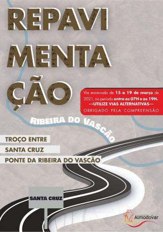 Repavimentação troço Santa Cruz – Ponte Ribeira Vascão