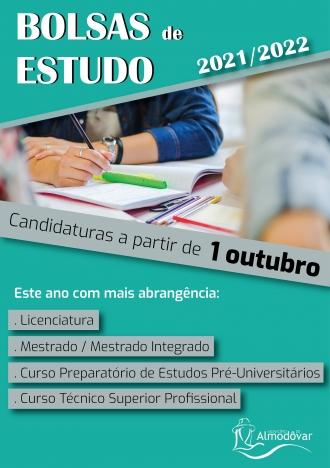Bolsas de Estudo 2021-2022 – Candidaturas a partir de 1 de outubro